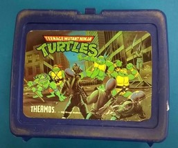Teenage Mutant Ninja Turtles Plastic Thermos Brand Lunchbox (1989) No Thermos - $14.84