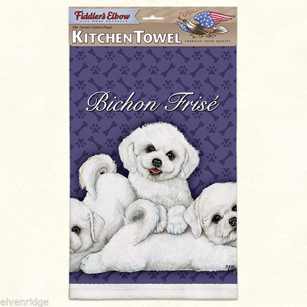 Bichon Frise puppies silk screen kitchen Towel made in USA