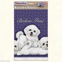 Bichon Frise puppies silk screen kitchen Towel made in USA