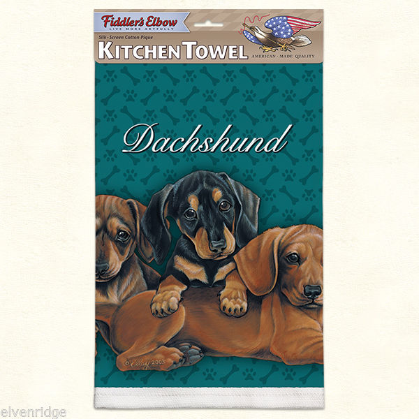 Dachshund puppy silk screen kitchen Towel made in USA
