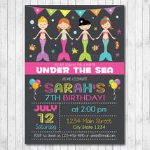 Mermaids Birthday Invitation Card - Digital Printable File - $12.00