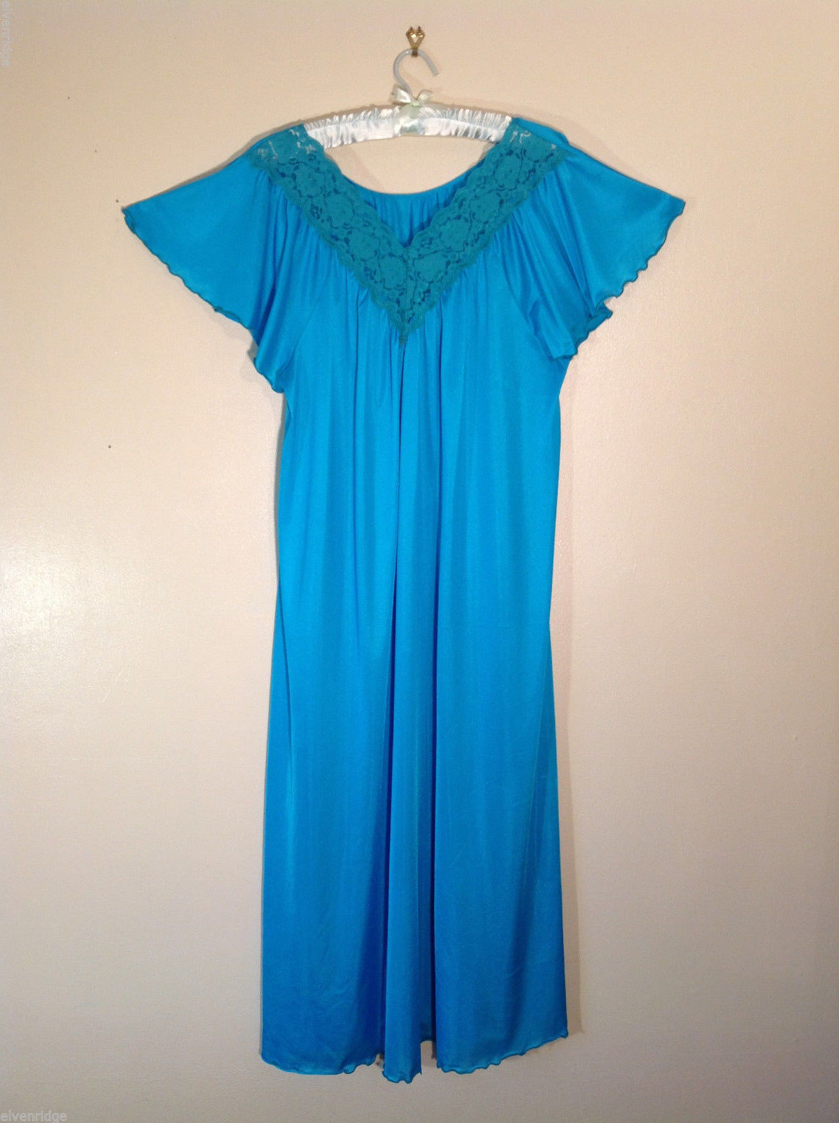 No Tag Women's Teal Blue Nylon Maxi Lingerie Nightgown w/ Cap Sleeves, Lace Trim