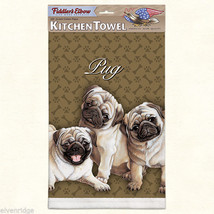 Pug puppies silk screen kitchen Towel made in USA