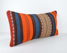 kilim lumbar orange blue striped colorful pillow lumbar kilim cushion lu... - $18.00