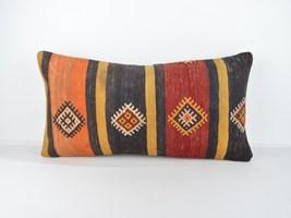 black red orange lumbar kilim pillow kilim cushion cover  LUMBAR KİLİM P... - $18.00