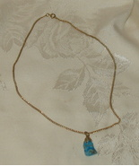 "Turquoise Pendant Stone on 18"" Gold Chain - $22.00"
