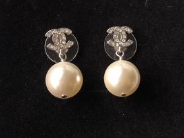 Authentic Chanel Classic Crystal CC Pearl Silver Earrings  image 2