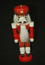 Vintage Folk Art Wooden Red Toy Soldier Christmas Holiday Nutcracker Xma... - $14.84