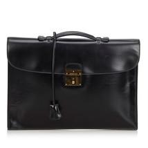Authentic Hermes Black Box Leather Quirus Business Bag France - $1,431.91
