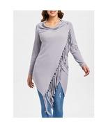 Tassel Asymmetrical Long Sleeve Top For Ladies - $16.38