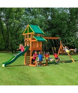 Swing Set Playset Cedar Wood Backyard Outdoor Garden Entertainment Kids Slide  - $689.00