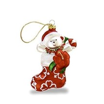 HAWAIIAN CHRISTMAS ORNAMENTS HAND MOLDED GLASS STOCKING BEAR PLUMERIA #1... - $14.84