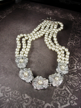 Triple Strand GLASS Pearl wedding Necklace Soft Ivory Vintage Rhinestone... - $95.00