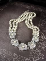 Triple Strand GLASS Pearl wedding Necklace Soft Ivory Vintage Rhinestone... - $95.00