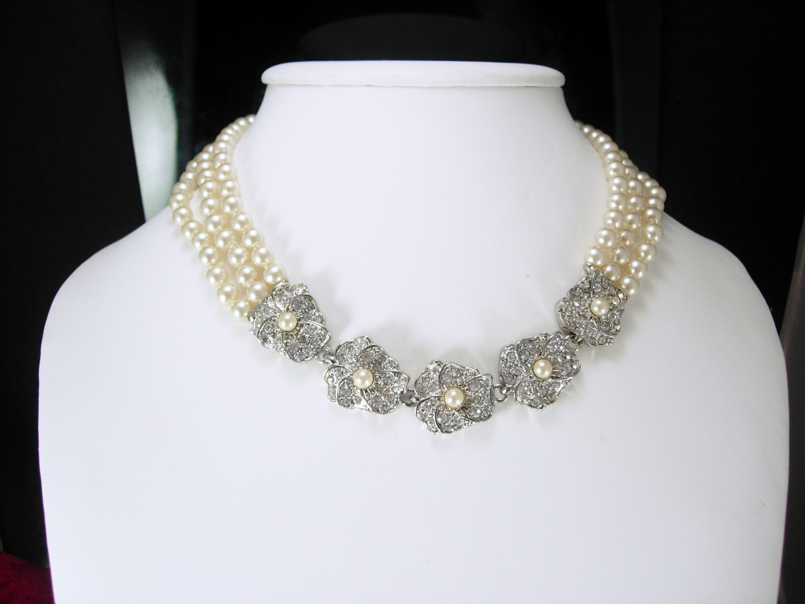 Triple Strand GLASS Pearl wedding Necklace Soft Ivory Vintage Rhinestones Annive