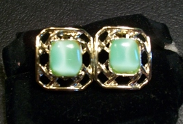Light Green Moonglow Lucite and Gold Vintage Earrings  - $7.50