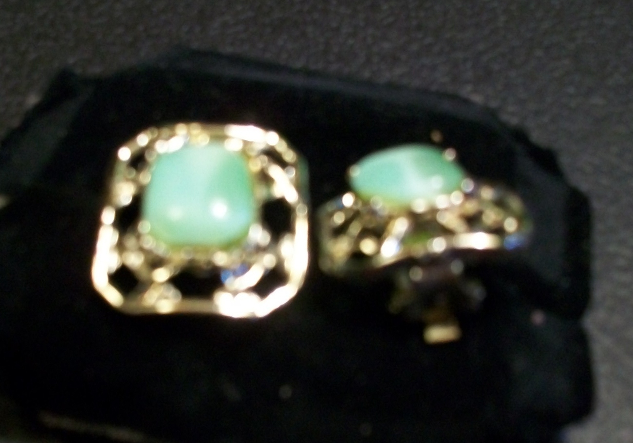 Light Green Moonglow Lucite and Gold Vintage Earrings