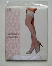 Leg Avenue Sheer Stay Up Thigh Highs w Floral Flocking & Rhinestone Whit... - $4.25