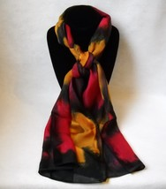 Hand Painted Silk Scarf Gold Black Red Oblong Womens Unique Hair Head Sc... - $56.00