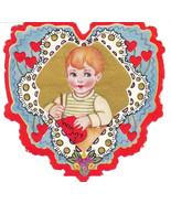Vintage Valentine Card Crafty Boy Flowers Gold ... - $7.91
