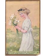 Vintage Postcard Easter Belles Girl White Flowe... - $8.90