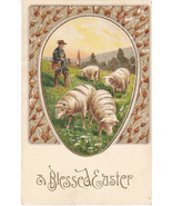 Vintage Postcard Easter Shepherd Sheep Gold Trim - $5.93