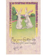 Vintage Postcard Easter White Bunny Rabbits Pur... - $6.92
