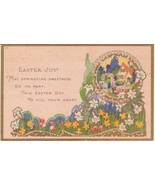 Vintage Postcard Easter Joy Cottage and Flowers... - $8.90