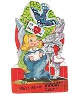 Vintage Valentine Card Knight Princess Bluebird... - $10.88