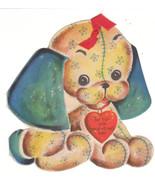 Vintage Valentine Card Stuffed Dog Toy Ribbon T... - $8.90