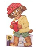 Vintage Valentine Card Dressed Hound Dog Mechan... - $9.89