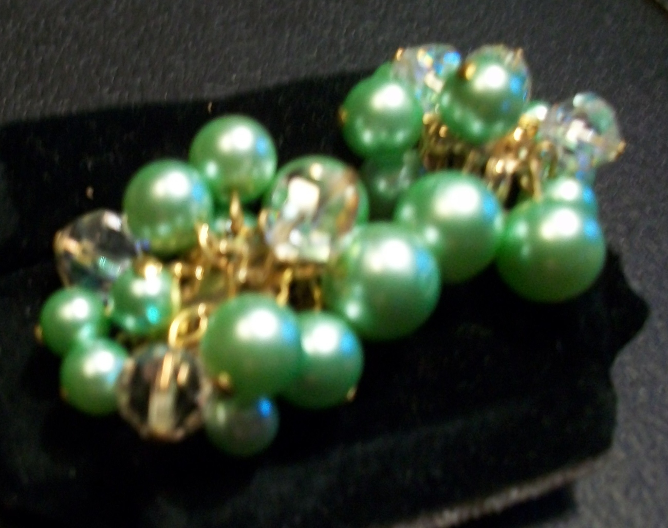Vintage Light Green and Clear Bead Dangle Cluster Earrings - Clip-On