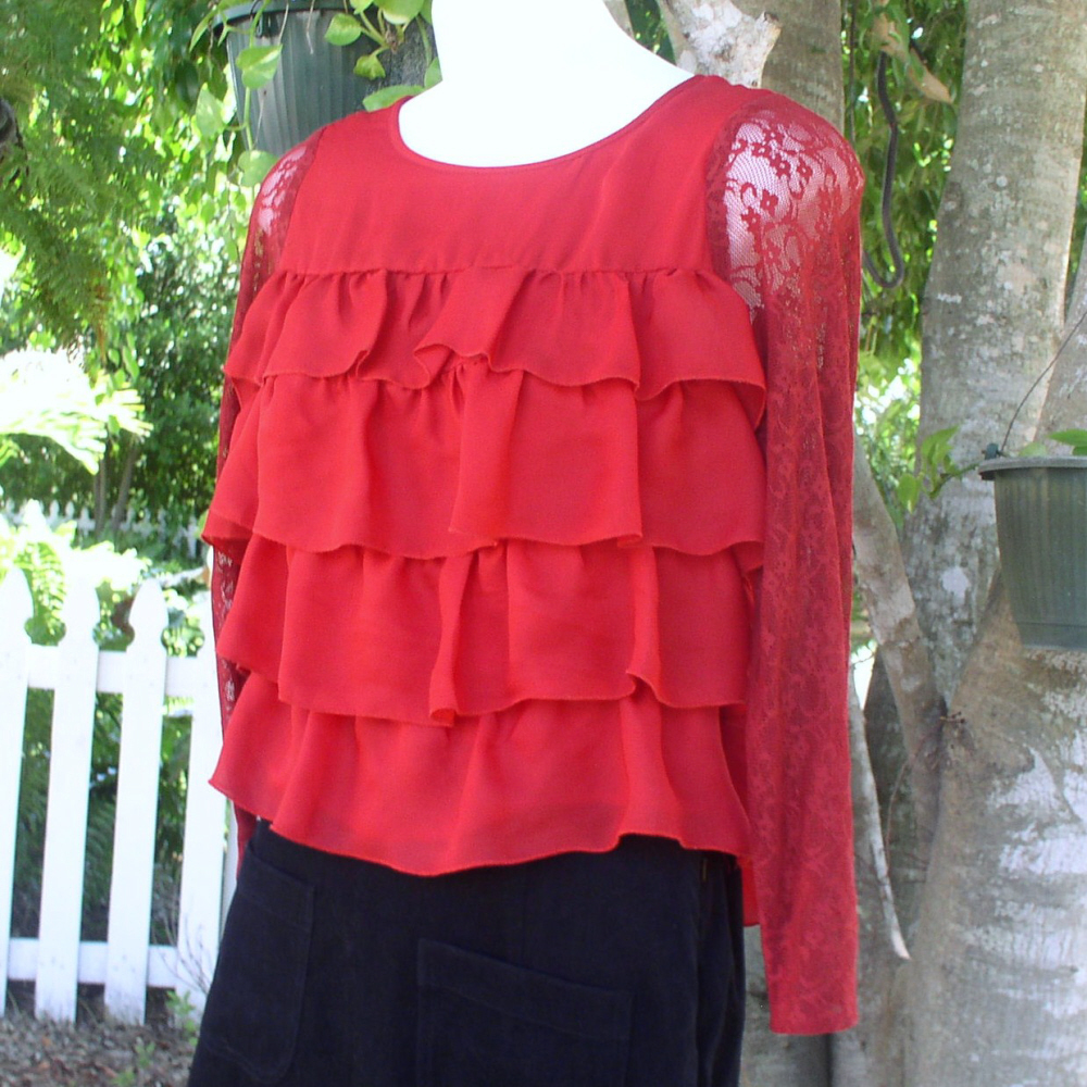 Blouse by Apostrophe' in Red Ruffles Dressy  Top