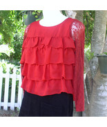 Blouse by Apostrophe' in Red Ruffles Dressy  Top - $8.00