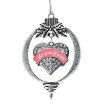 Inspired Silver Coral Sis of Groom Pave Heart Holiday Decoration Christmas Tree  - $14.69