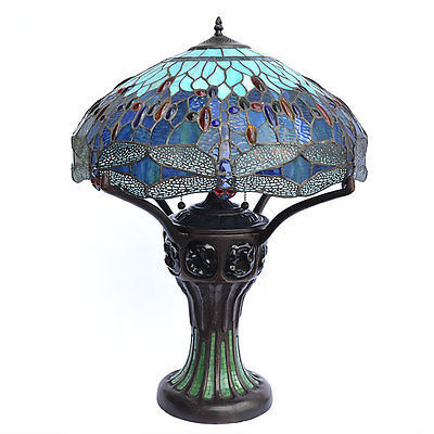 Vintage Tiffany Style Dragon Turtle Back Ornate Table Lamp 22'' x ,28''H.