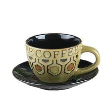 [GREEN] Vintage Style Coffee Cup Cafe Coffee Mug With A Plate 250ML