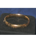 Vintage Gold Filled Etched Floral Hinged Bangle Bracelet Signed WEH 1960's - $129.75