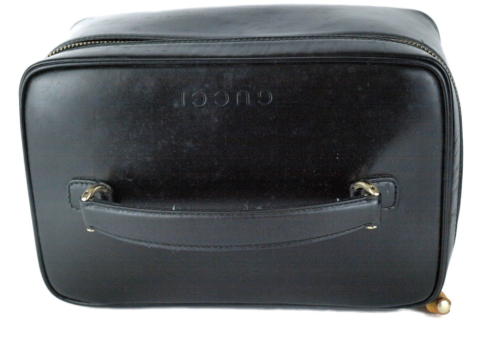 2148cc59f2d ... Auth GUCCI Cosmetic Black Patent Leather Cosmetic Hand Bag Accessories  Pouch ...