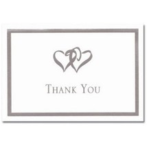 Silver Double Hearts Thank You Note Cards & Envelopes - 100 - $47.99