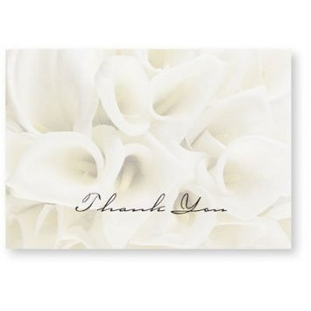 White Calla Lilies Thank You Note Cards & Envelopes - 100