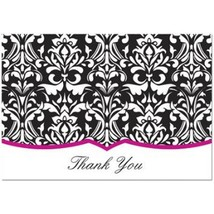 Classic Damask With Fuchsia Thank You Note Cards & Envelopes - 100 - $46.99