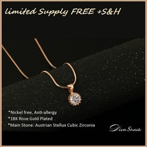 Austrian Crown Diamond Cubic Zirconia Pendant 18k Rose Gold Fill Chain Necklace image 2