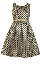 Little Girls Metallic Gold/Black Belted Aztec Brocade Dress