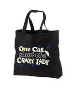 Crazy Cat Lady New Black Tote Bag Gifts Shop Ev... - $17.99