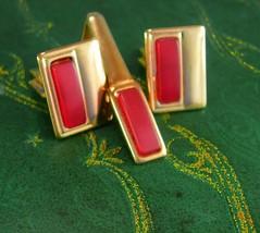 Vintage Cranberry Cufflinks & Tie clip Birthday gift  Fathers Day Weddin... - $45.00