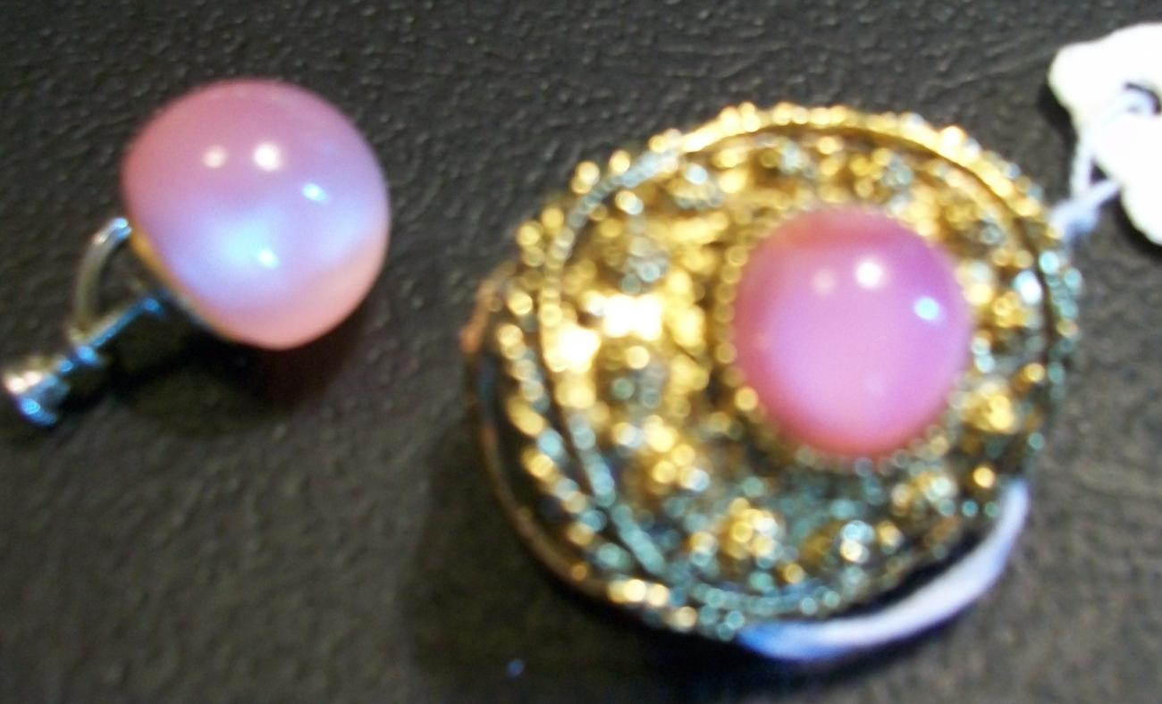Ornate Vintage Gold tone Scarf Slide with Pink Moonstone