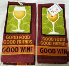 "2 SAME PRINTED TERRY TOWELS (15"" x 25"") GOOD FOOD, GOOD FRIENDS, GOOD WI... - $10.88"
