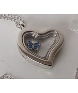Heart Glass Locket Necklace Floating Butterfly ... - $12.99
