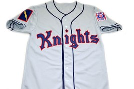 Roy Hobbs #9 New York Knights Button Down New Men Baseball Jersey Grey Any Size image 1